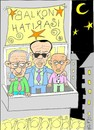 Cartoon: balcony souvenir (small) by yasar kemal turan tagged famous,balcony,erdogan,klctaroglu,speech,turkey,bahcel