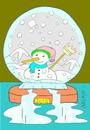 Cartoon: contact (small) by yasar kemal turan tagged contact,love,winter,snowman,water