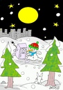 Cartoon: escape city (small) by yasar kemal turan tagged escape,city,refrigerator,love,snowman,nature