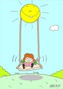 Cartoon: fair sun (small) by yasar kemal turan tagged fair,sun,children,love,swing
