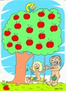 Cartoon: first swing (small) by yasar kemal turan tagged adam,eve,first,swing