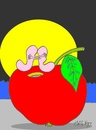 Cartoon: good night (small) by yasar kemal turan tagged good night founded apple worm love