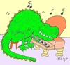 Cartoon: Jurassic music (small) by yasar kemal turan tagged jurassic,music,dinosaur,love