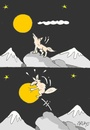 Cartoon: kaparapat (small) by yasar kemal turan tagged wolf,love,moon,catch