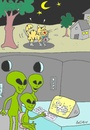 Cartoon: kind  curiosity (small) by yasar kemal turan tagged kind,of,curiosity,ufo,cat,mate,love,sex