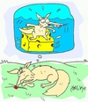 Cartoon: love of cheese (small) by yasar kemal turan tagged love,cheese,fox