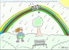Cartoon: naughty cat (small) by yasar kemal turan tagged naughty,cat,rainbow,love,rain