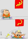 Cartoon: red flag (small) by yasar kemal turan tagged red,flag,sickle,hammer,politician,funny