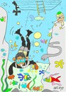 Cartoon: reef diving (small) by yasar kemal turan tagged diving,osama,bin,laden,huseyin,barack,obama