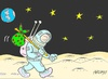 Cartoon: seclusion (small) by yasar kemal turan tagged seclusion,world,space,love,planet,moon