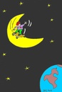 Cartoon: excitement (small) by yasar kemal turan tagged skateboard love moon world