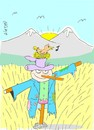 Cartoon: small guest (small) by yasar kemal turan tagged small,guest,bird,scarecrow,field,love