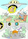 Cartoon: ufo test (small) by yasar kemal turan tagged test,ufo,attack,sheep,goat,shepherd,food,aliens,dog