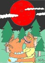 Cartoon: obscuration wolf man woman (small) by yasar kemal turan tagged wolf,man,woman,moon,obscuration