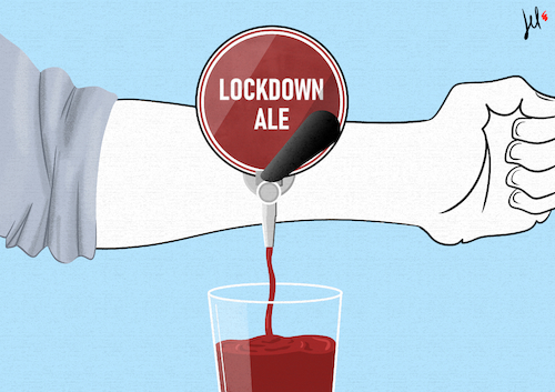 Cartoon: Lockdown Ale (medium) by Emanuele Del Rosso tagged lockdown,horeca,coronavirus,pandemic,pubs,lockdown,horeca,coronavirus,pandemic,pubs