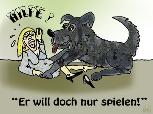 Cartoon: Hilfe (medium) by Lutz-i tagged hund,spiel