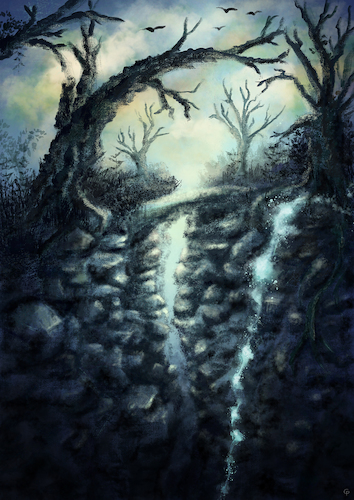 Cartoon: Fantasy environment (medium) by alesza tagged landscape,nature,environment,digital,painting,illustration,art,tree,waterfall,fantasy,rock,mountain,bridge
