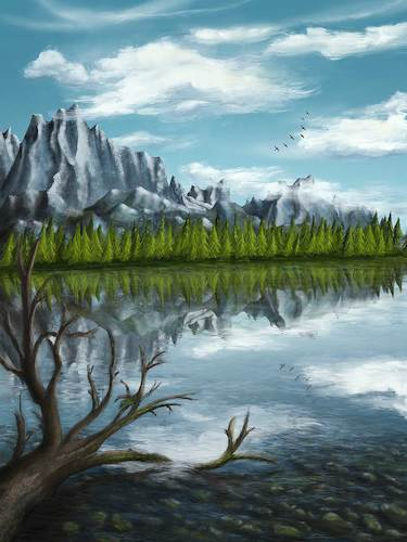 Cartoon: Reflections (medium) by alesza tagged digital,digitalart,digitalpainting,reflection,mountains,environment,freedom,landscape,nature,painting,procreate,ipadart,wanderlust,outdoors,tranquility