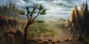 Cartoon: Landscape April 2017 (small) by alesza tagged digital,art,painting,illustration,drawing,landscape,ipadart,conceptual,tree,environment,mountains