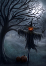 Cartoon: Scarecrow (small) by alesza tagged halloween,happy,creepy,scarecrow,moon,winner,contest,artfest,moonlight,night,spooky,dark,darkness,pumpkin,unikatdesign,digital,art,painting,illustration,artwork