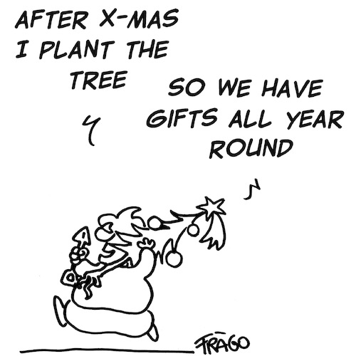 Cartoon: X-mas Tree (medium) by fragocomics tagged xmas,chistmas,santa,claus,xmas,chistmas,santa,claus