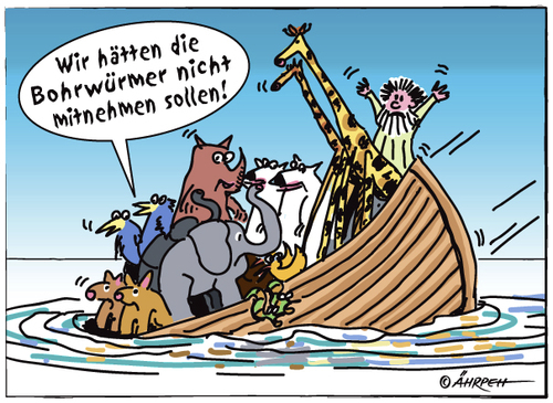 Cartoon: Dumm gelaufen (medium) by rpeter tagged arche,noah,meer,boot,schiff,tiere