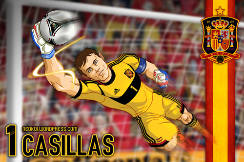 Cartoon: Iker Casillas Euro 2012 (medium) by Neokoi tagged iker,casillas,euro,eurocopa,spain,real,madrid,capitan,futbol,football