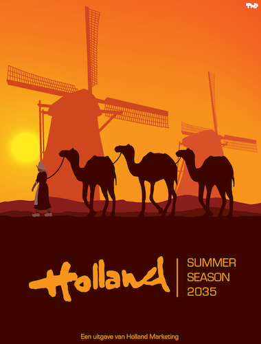 Cartoon: Heatwave in Holland (medium) by Tjeerd Royaards tagged weather,hot,climate,netherlands,weather,hot,climate,netherlands