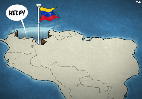 Cartoon: Meanwhile in Venezuela (medium) by Tjeerd Royaards tagged venezuela,south,america,economy,inflation,refugees,venezuela,south,america,economy,inflation,refugees