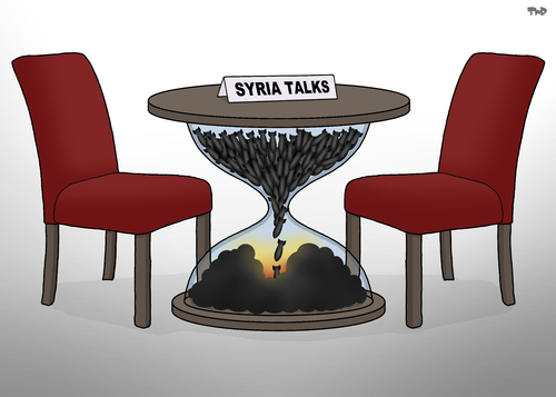 Cartoon: Negotiation Table (medium) by Tjeerd Royaards tagged syria,war,truce,peace,talks,bombs,syria,war,truce,peace,talks,bombs