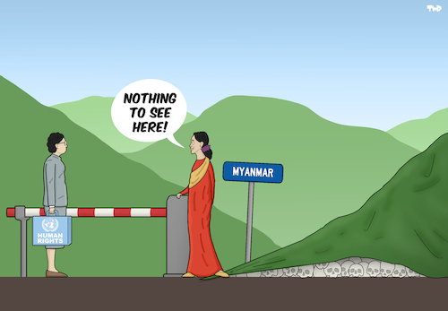 Cartoon: Nothing to See Here (medium) by Tjeerd Royaards tagged burma,myanmar,aung,san,suu,kyi,rohingyas,genocide,cartoon,violence,human,rights,un,united,nations,burma,myanmar,aung,san,suu,kyi,rohingyas,genocide,cartoon,violence,human,rights,un,united,nations