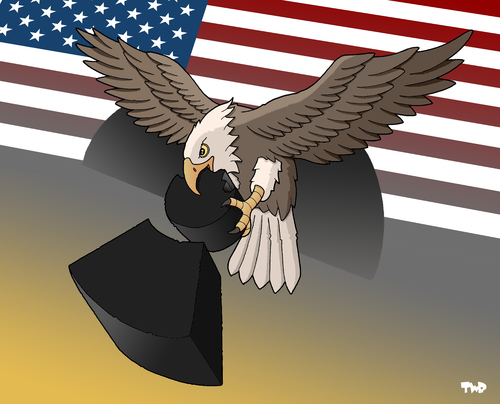 Cartoon: Nuclear disarmament (medium) by Tjeerd Royaards tagged nuclear,weapons,obama,reduction,treaty,war,agression,atomic,nuke,eagle,usa,america,russia,atomwaffen,nuklear,waffen,bomben,krieg,verteidiung,russland,usa,militär