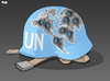 Cartoon: A history of UN intervention (small) by Tjeerd Royaards tagged un,united,nations,war,conflict,intervention,blue,helmet,new,york,security,counsil,assembly,international,community,member,states