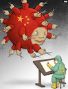 Cartoon: Censorship Virus (small) by Tjeerd Royaards tagged coronavirus,disease,china,censorship,press,cartoonist,news,satire,sick,xi,jinping