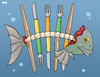 Cartoon: Depletion of the oceans (small) by Tjeerd Royaards tagged fish,ocean,sea,fishing,consumption,food,seafood