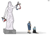 Cartoon: Lady Justice in France (small) by Tjeerd Royaards tagged burikini,ban,nice,france,police,justice,beach,muslim