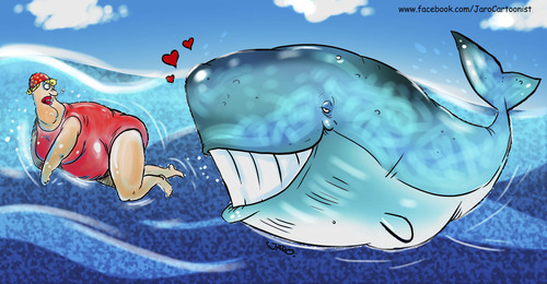 Cartoon: BIG LOVE (medium) by JARO tagged woman,big,fish,fat