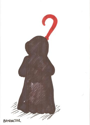 Cartoon: Grim Reaper and a question mark (medium) by Seydi Ahmet BAYRAKTAR tagged grim,reaper,and,question,mark