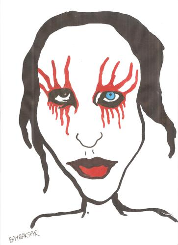 Cartoon: marilyn manson (medium) by Seydi Ahmet BAYRAKTAR tagged marilyn,manson