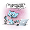 Cartoon: crazy computer cat (small) by Rovey tagged katze,cat,computer,laptop,notebook,maus,mouse,usb,technik,schnittstelle,interface,tiere,reklamation,beschwerde,complain,kunde,customer