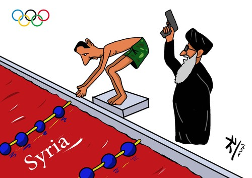 Cartoon: the swimmer (medium) by yaserabohamed tagged bashar,al,assad,swimmwe,swim,iran,syria
