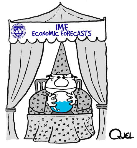 Cartoon: ECONOMIC FORECASTS IMF (medium) by QUEL tagged economic,forecasts,imf