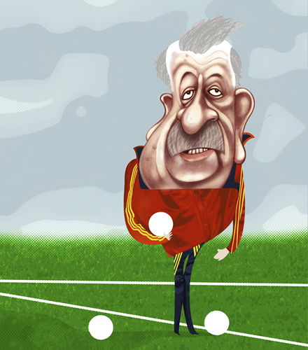 Cartoon: Vicente del Bosque (medium) by pincho tagged vicente,del,bosque,seleccionador,mundial,futbol,football,sport,sudafrica,madrid,roja