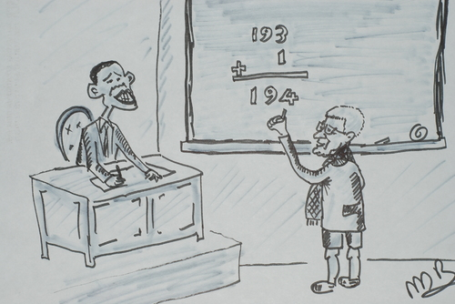 Cartoon: obama abbas (medium) by MSB tagged obama,abbas