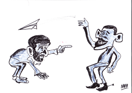 Cartoon: obama ahmedinejad (medium) by MSB tagged obama,ahmedinejad