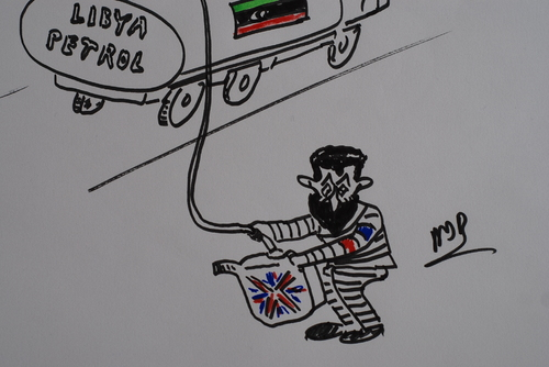 Cartoon: sarkozy libyada (medium) by MSB tagged libya,sarkozy