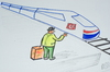 Cartoon: HIZLI TREN (small) by MSB tagged otostopcu