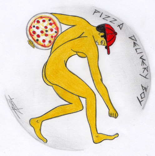 Cartoon: pizza delivery boy (medium) by Tomek tagged pizzapitch