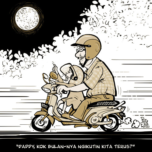 Cartoon: Me and my daughter (medium) by putuebo tagged daughter,motorcycle,night,moon