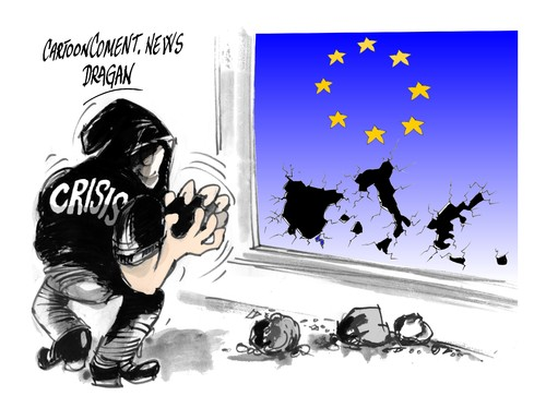 Cartoon: UE-a golpe de crisis (medium) by Dragan tagged union,europea,crisis,deuda,eurozona,spain,italia,grecia,intervencion,banc,politics,cartoon
